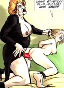 Cartoon chick in a mask nailing into black cock of poor bound guy in dirty porn cartoon